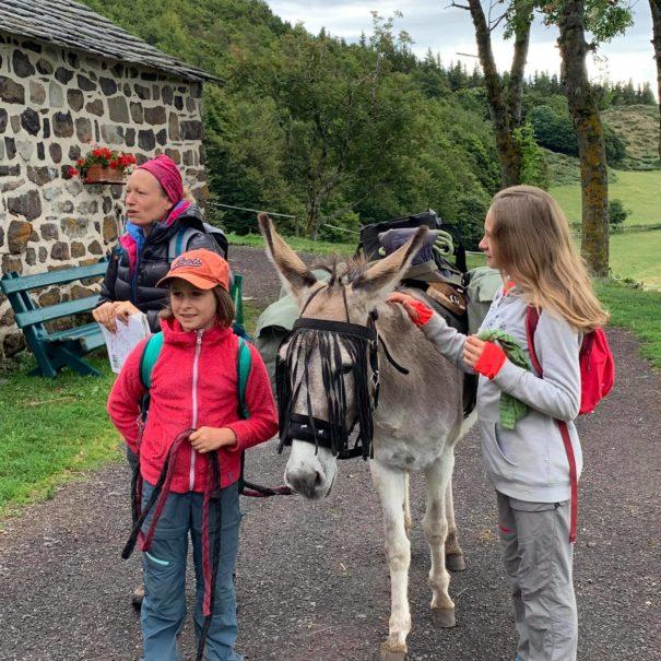 Une famille de randonneurs avec une âne au départ de la Ferme de Médille