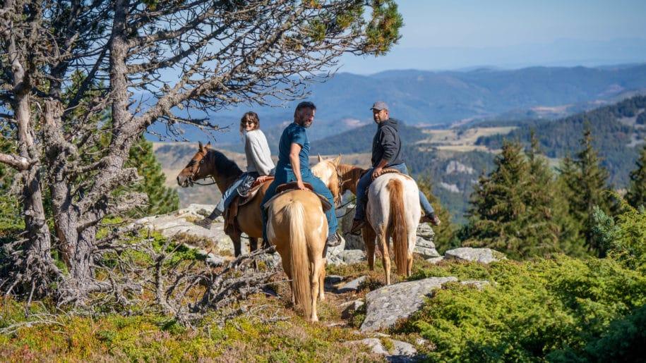 Cavalier dans les montagnes surplombant la vallée qui fait face au gîte