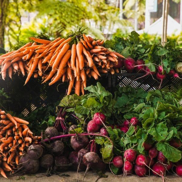 Étalage de légume : carottes, radis, navets
